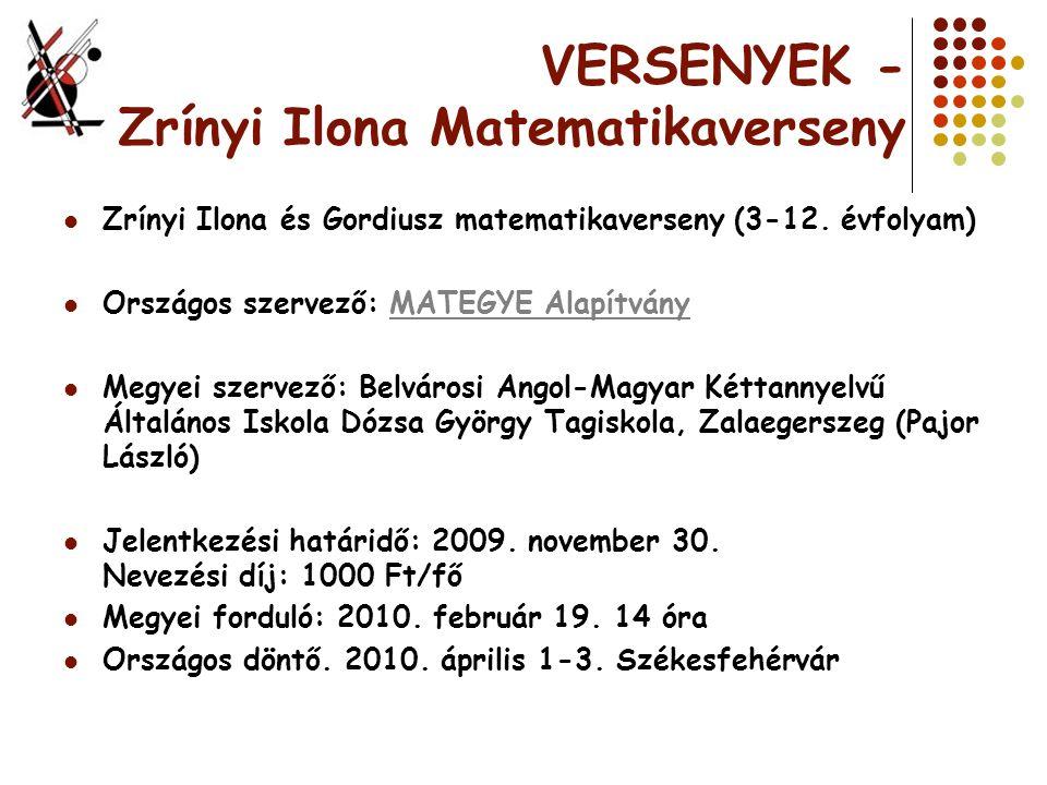 VERSENYEK - Zrínyi Ilona Matematikaverseny