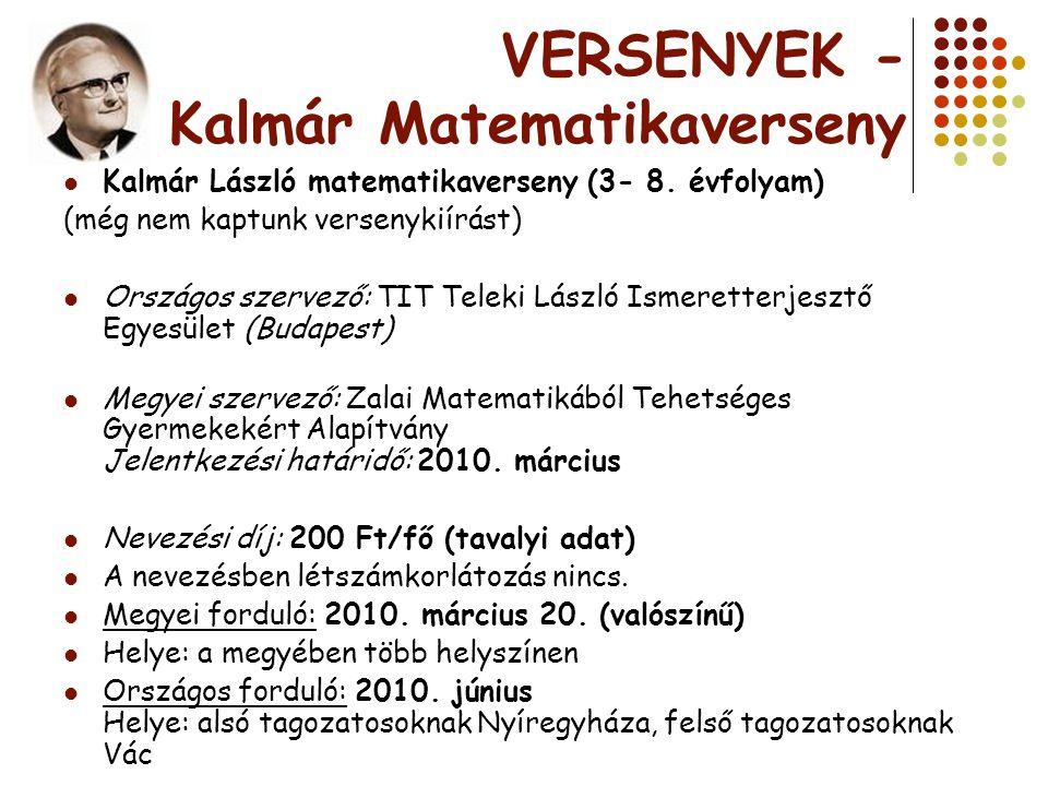 VERSENYEK - Kalmár Matematikaverseny