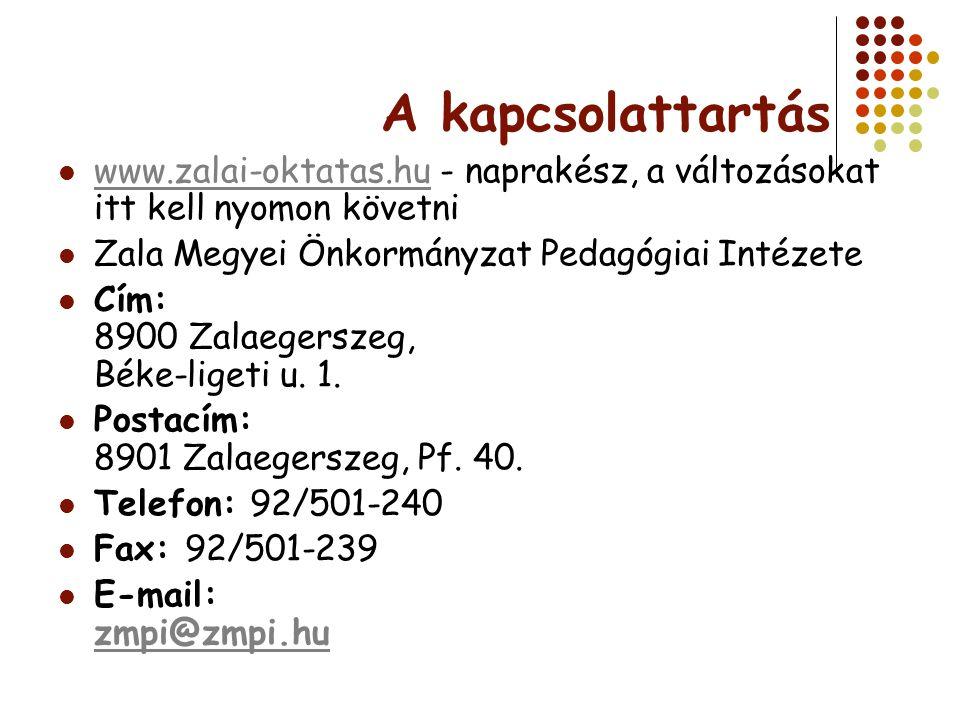 A kapcsolattartás www.zalai-oktatas.hu - naprakész, a változásokat itt kell nyomon követni. Zala Megyei Önkormányzat Pedagógiai Intézete.