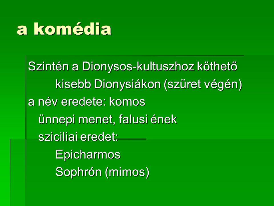 a komédia Szintén a Dionysos-kultuszhoz köthető