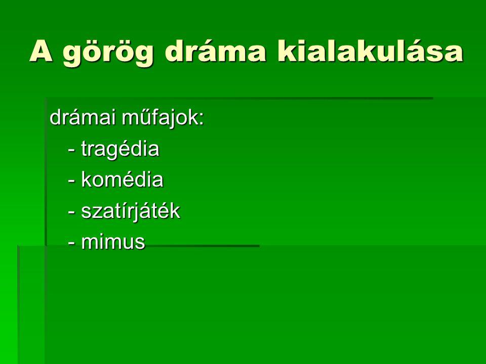 A görög dráma kialakulása
