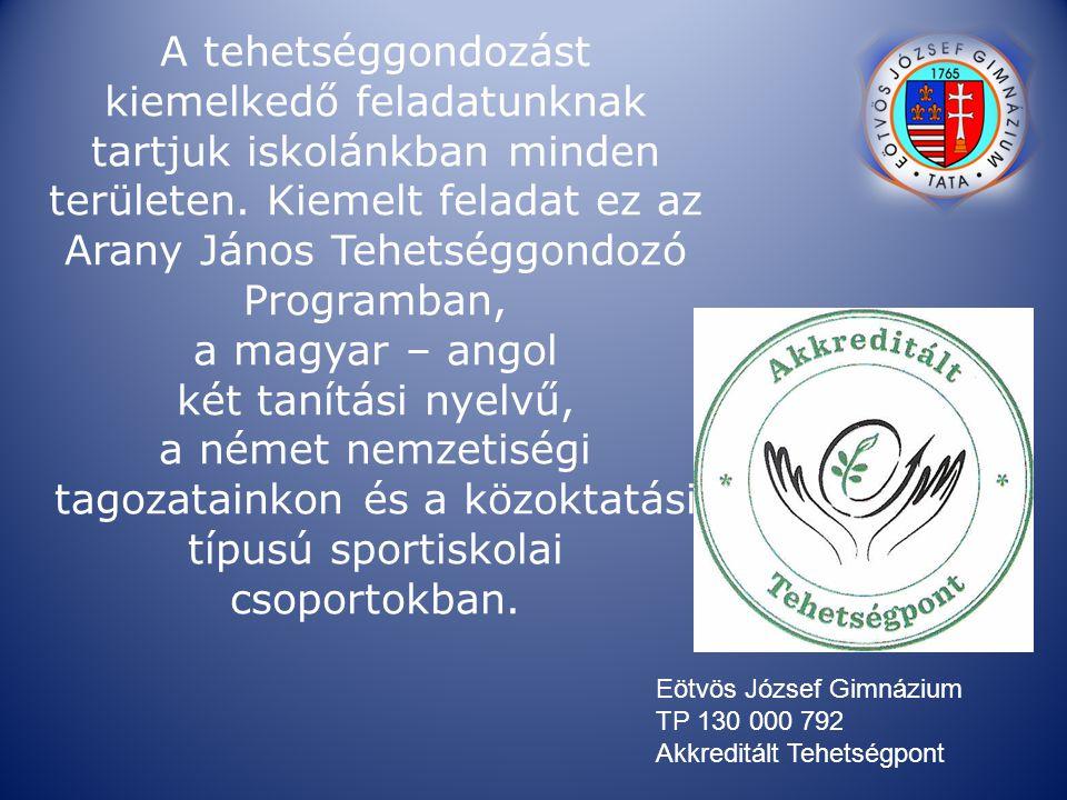 A tehetséggondozást kiemelkedő feladatunknak tartjuk iskolánkban minden területen. Kiemelt feladat ez az Arany János Tehetséggondozó Programban, a magyar – angol két tanítási nyelvű, a német nemzetiségi tagozatainkon és a közoktatási típusú sportiskolai csoportokban.