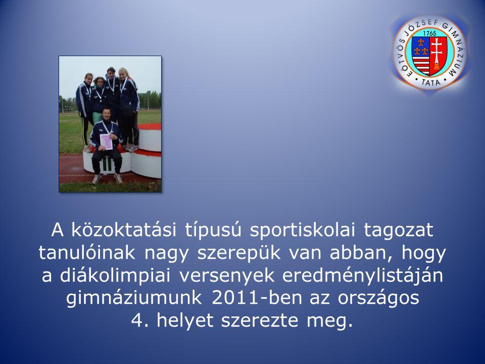 A közoktatási típusú sportiskolai tagozat tanulóinak nagy szerepük van abban, hogy a diákolimpiai versenyek eredménylistáján gimnáziumunk 2011-ben az országos 4.