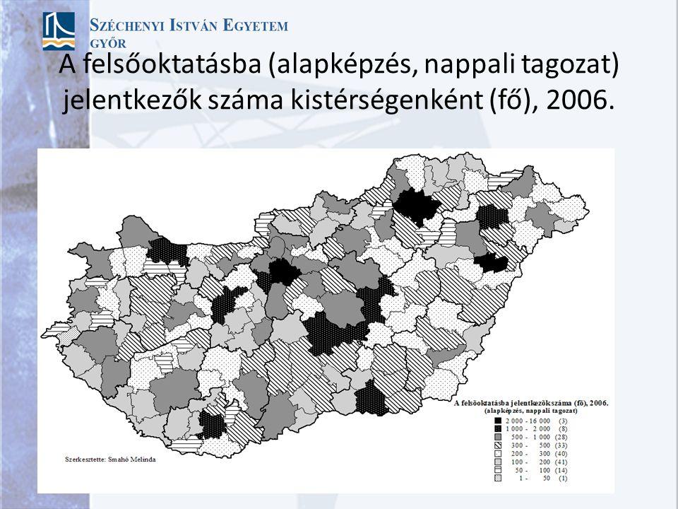 A felsőoktatásba (alapképzés, nappali tagozat) jelentkezők száma kistérségenként (fő), 2006.