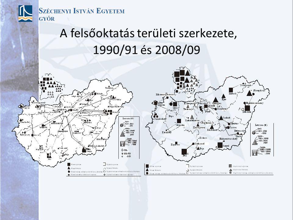 A felsőoktatás területi szerkezete, 1990/91 és 2008/09
