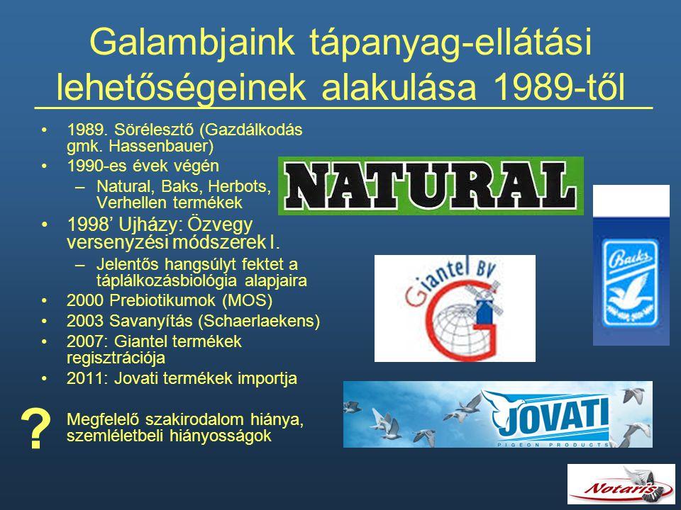 Galambjaink tápanyag-ellátási lehetőségeinek alakulása 1989-től