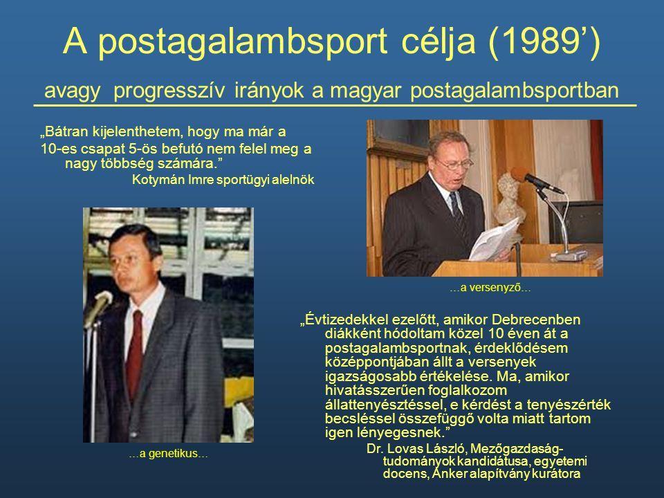A postagalambsport célja (1989') avagy progresszív irányok a magyar postagalambsportban