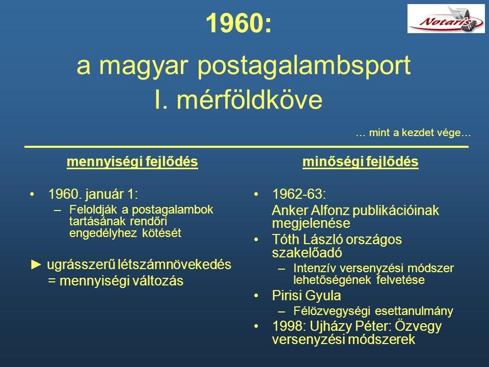 1960: a magyar postagalambsport I. mérföldköve