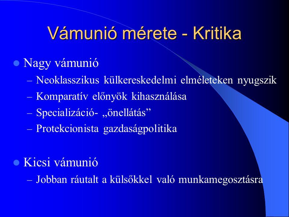 Vámunió mérete - Kritika