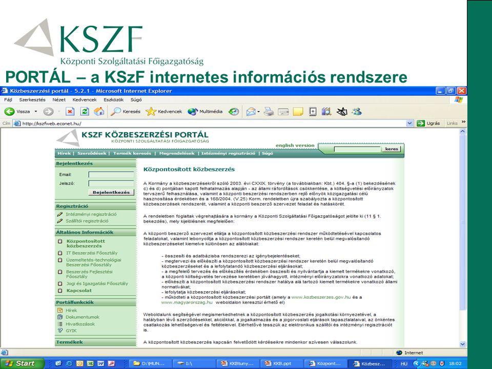 PORTÁL – a KSzF internetes információs rendszere
