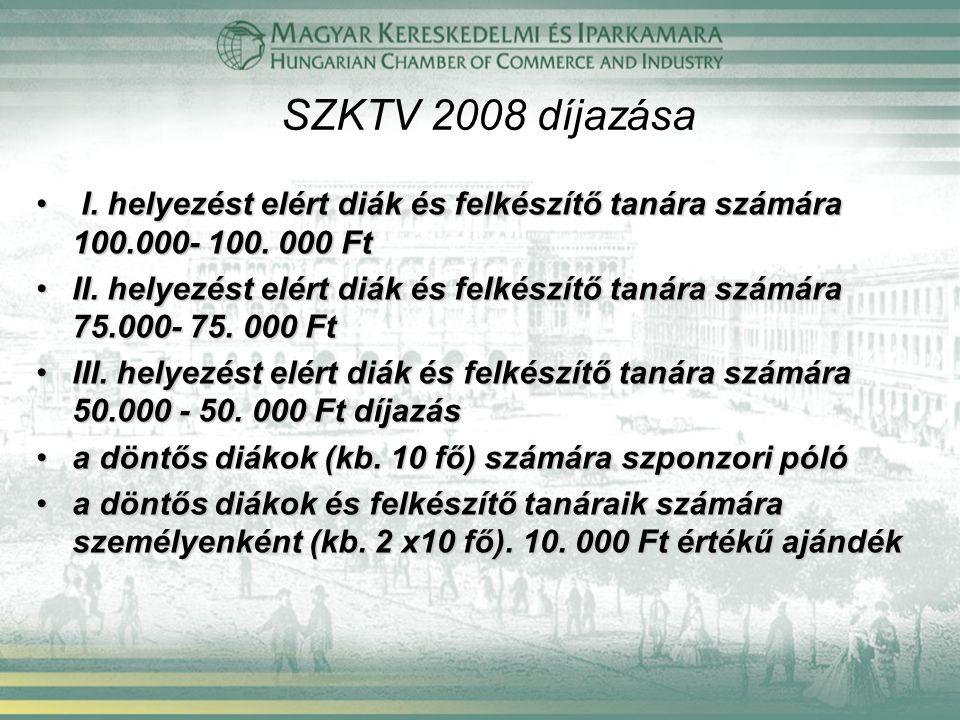 SZKTV 2008 díjazása I. helyezést elért diák és felkészítő tanára számára 100.000- 100. 000 Ft.