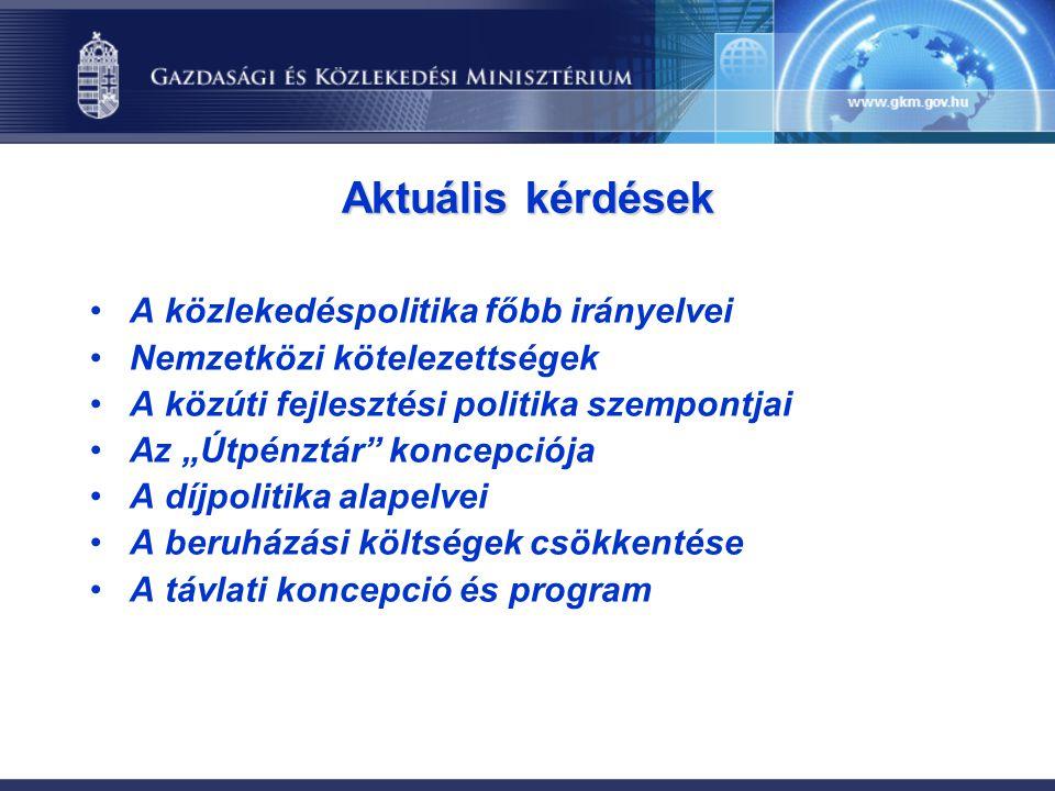 Aktuális kérdések A közlekedéspolitika főbb irányelvei