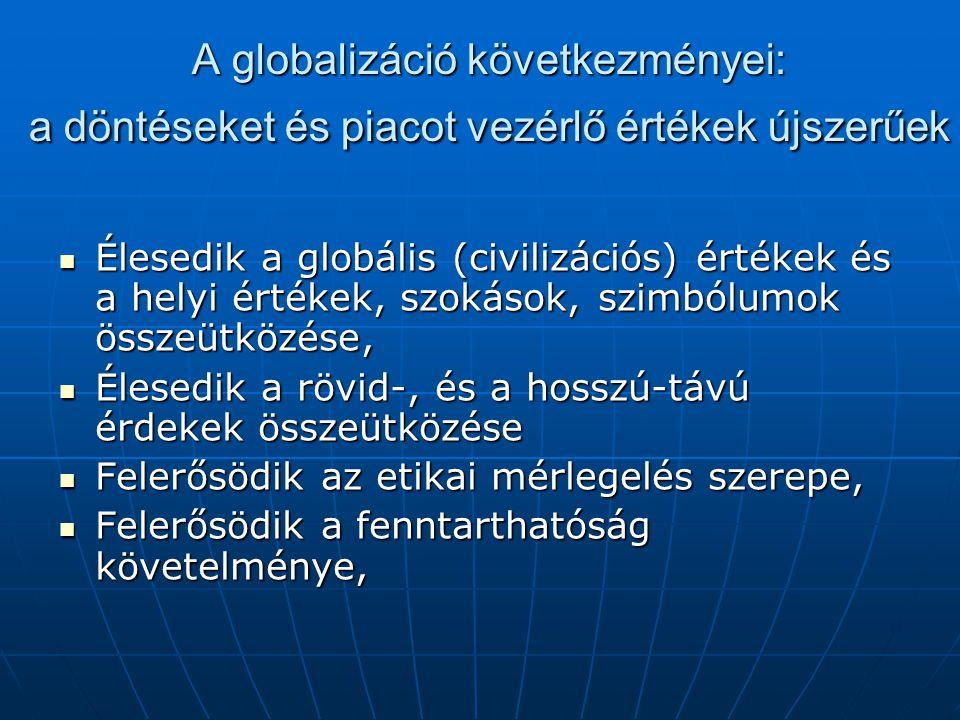A globalizáció következményei: a döntéseket és piacot vezérlő értékek újszerűek