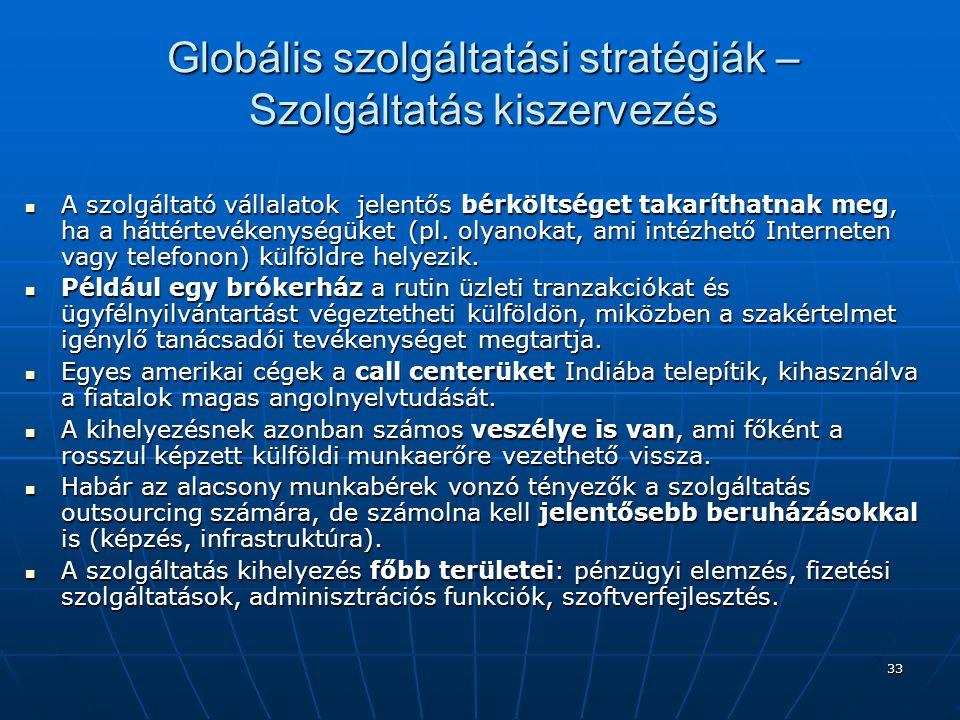 Globális szolgáltatási stratégiák – Szolgáltatás kiszervezés
