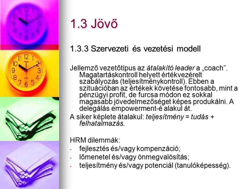 1.3 Jövő 1.3.3 Szervezeti és vezetési modell