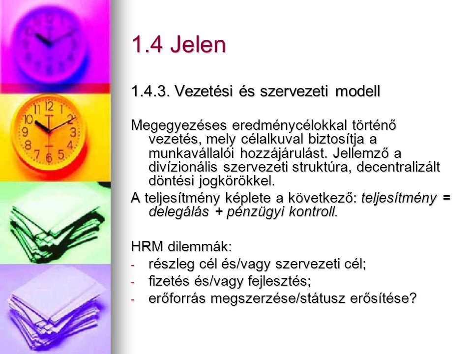 1.4 Jelen 1.4.3. Vezetési és szervezeti modell