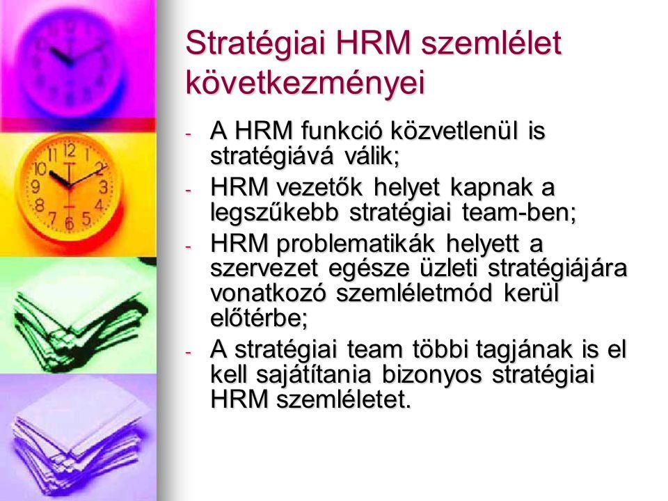 Stratégiai HRM szemlélet következményei