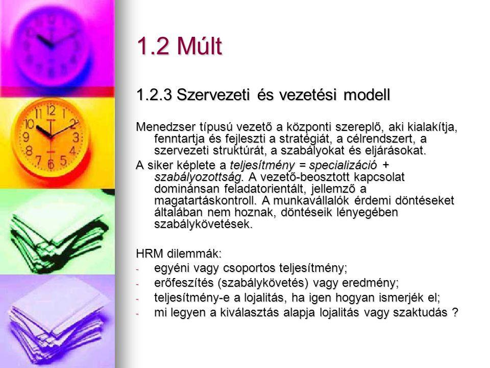 1.2 Múlt 1.2.3 Szervezeti és vezetési modell