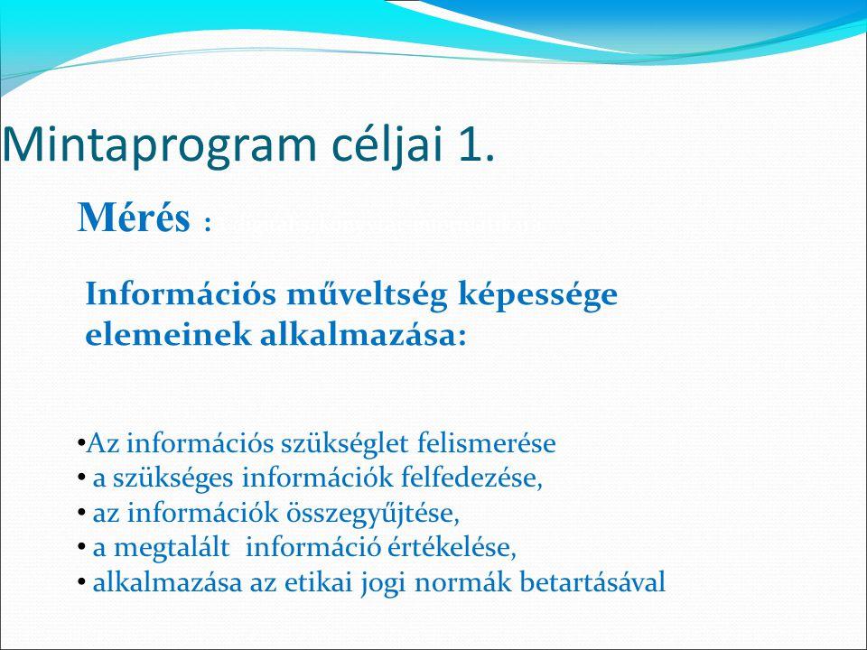 Mintaprogram céljai 1. Mérés :a digitális, könyvtár-informatikai a