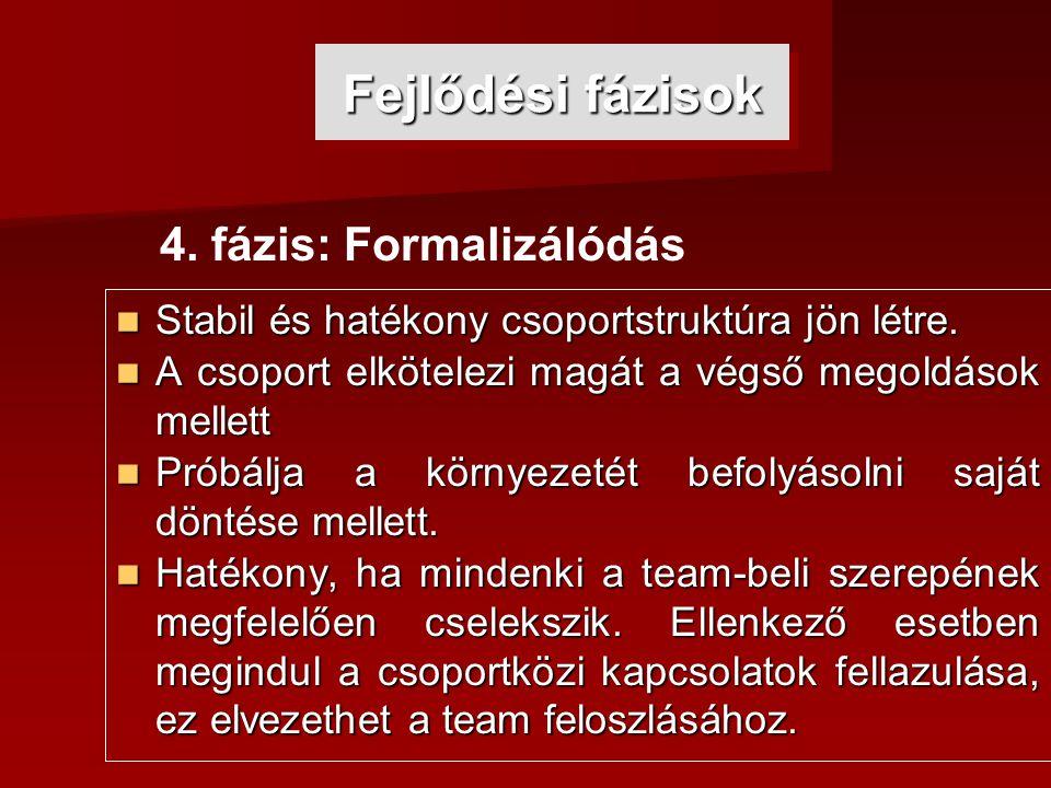 Fejlődési fázisok 4. fázis: Formalizálódás