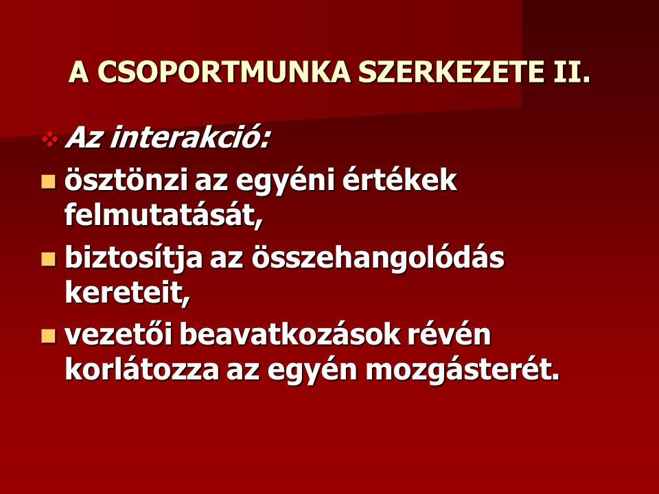 A CSOPORTMUNKA SZERKEZETE II.