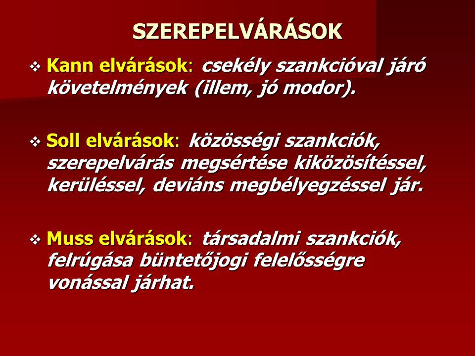 SZEREPELVÁRÁSOK Kann elvárások: csekély szankcióval járó követelmények (illem, jó modor).
