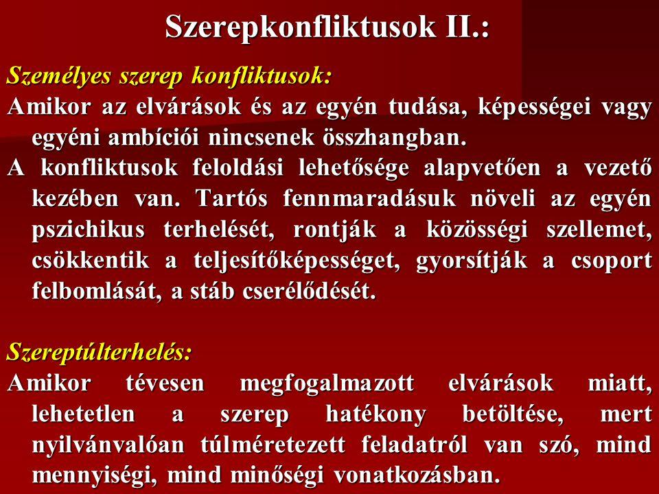 Szerepkonfliktusok II.: