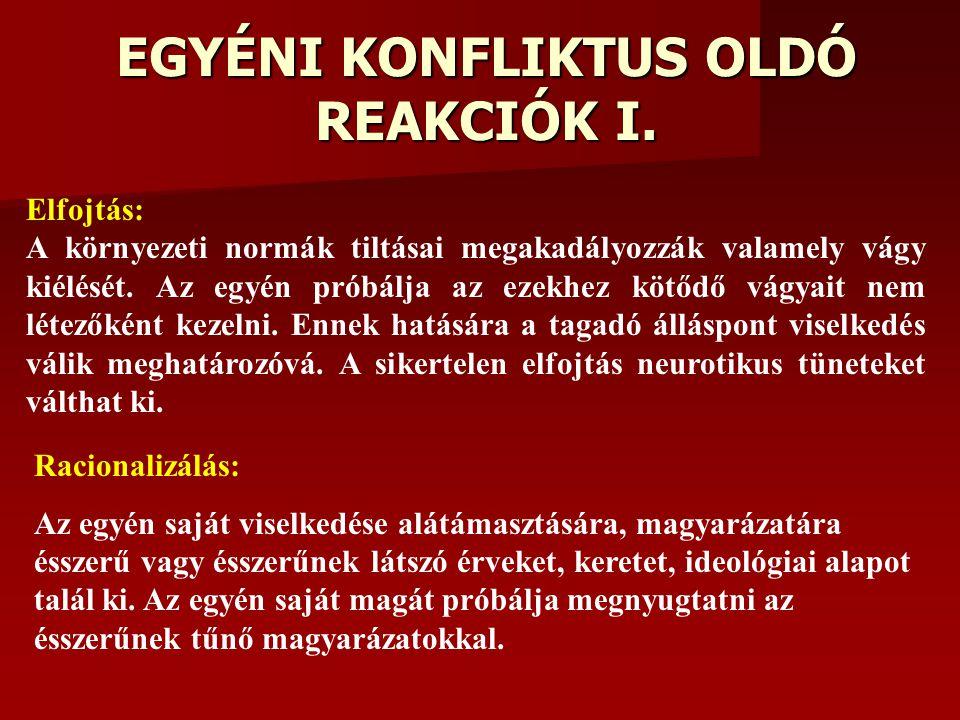 EGYÉNI KONFLIKTUS OLDÓ REAKCIÓK I.
