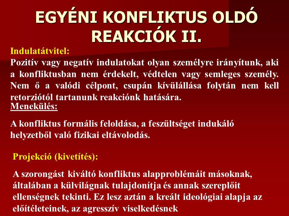 EGYÉNI KONFLIKTUS OLDÓ REAKCIÓK II.