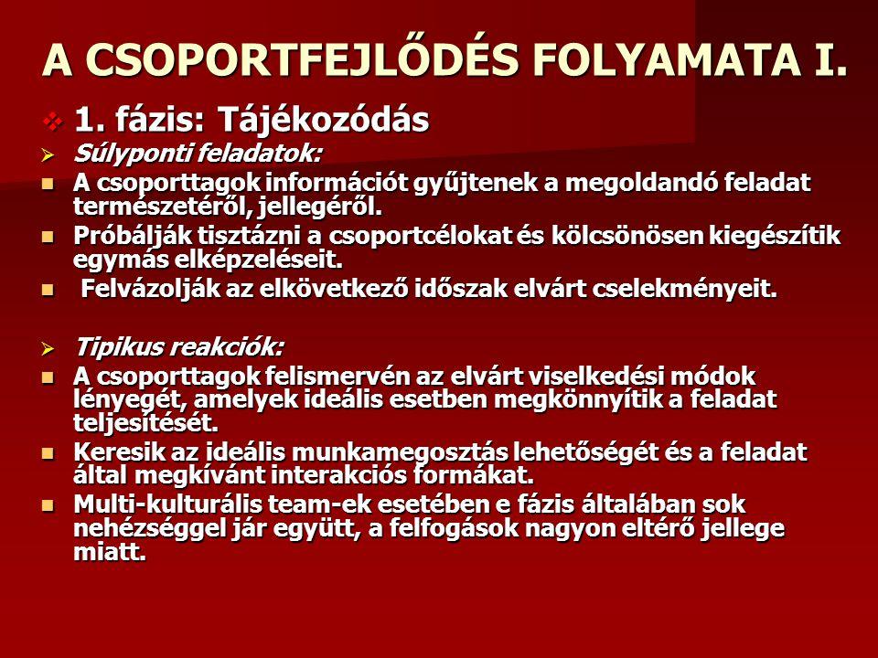 A CSOPORTFEJLŐDÉS FOLYAMATA I.
