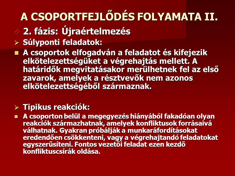 A CSOPORTFEJLŐDÉS FOLYAMATA II.