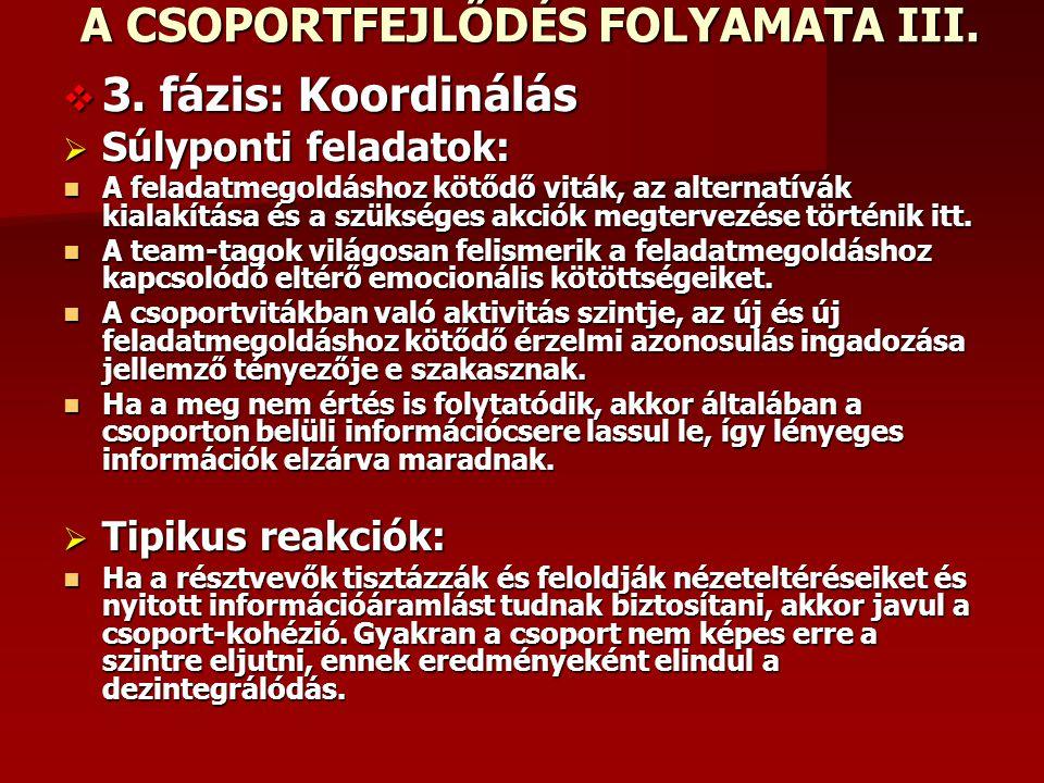 A CSOPORTFEJLŐDÉS FOLYAMATA III.