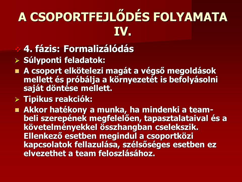 A CSOPORTFEJLŐDÉS FOLYAMATA IV.