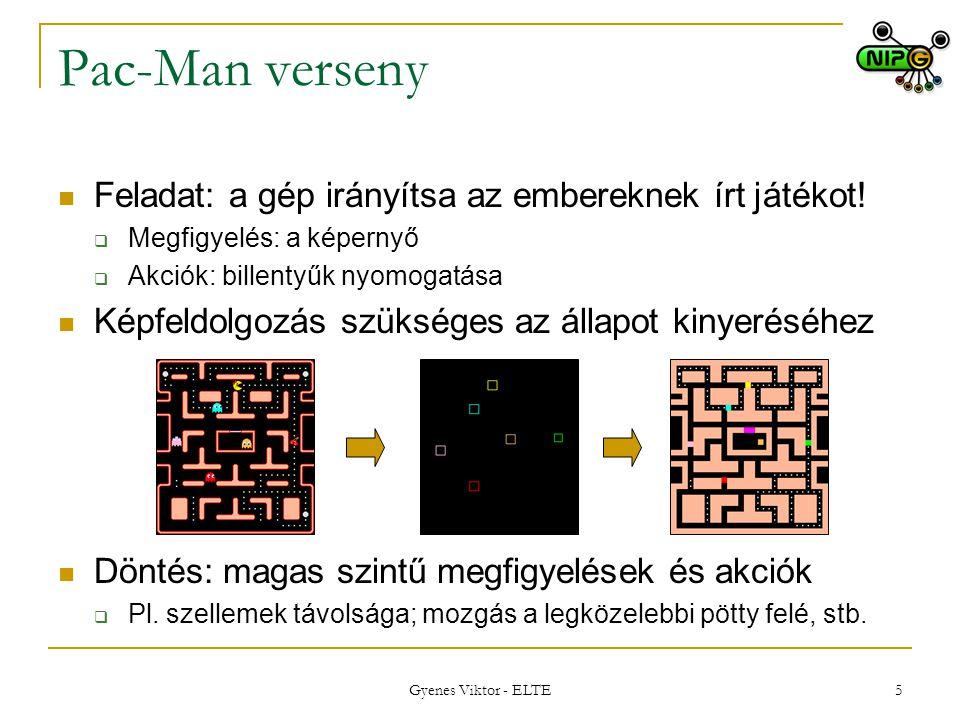 Pac-Man verseny Feladat: a gép irányítsa az embereknek írt játékot!