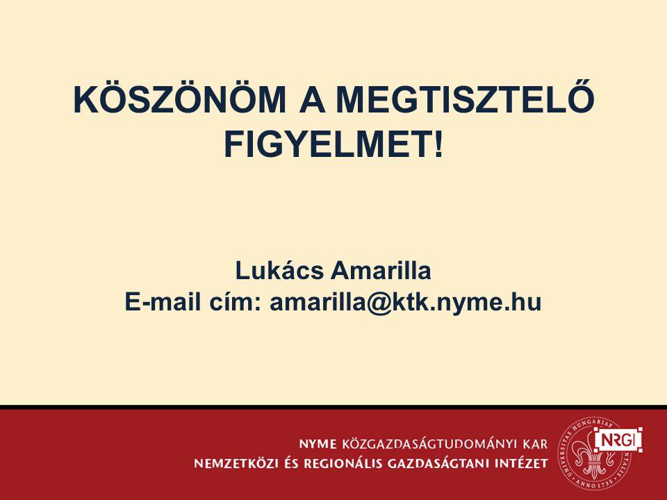 KÖSZÖNÖM A MEGTISZTELŐ FIGYELMET! E-mail cím: amarilla@ktk.nyme.hu