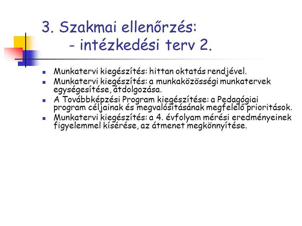 3. Szakmai ellenőrzés: - intézkedési terv 2.