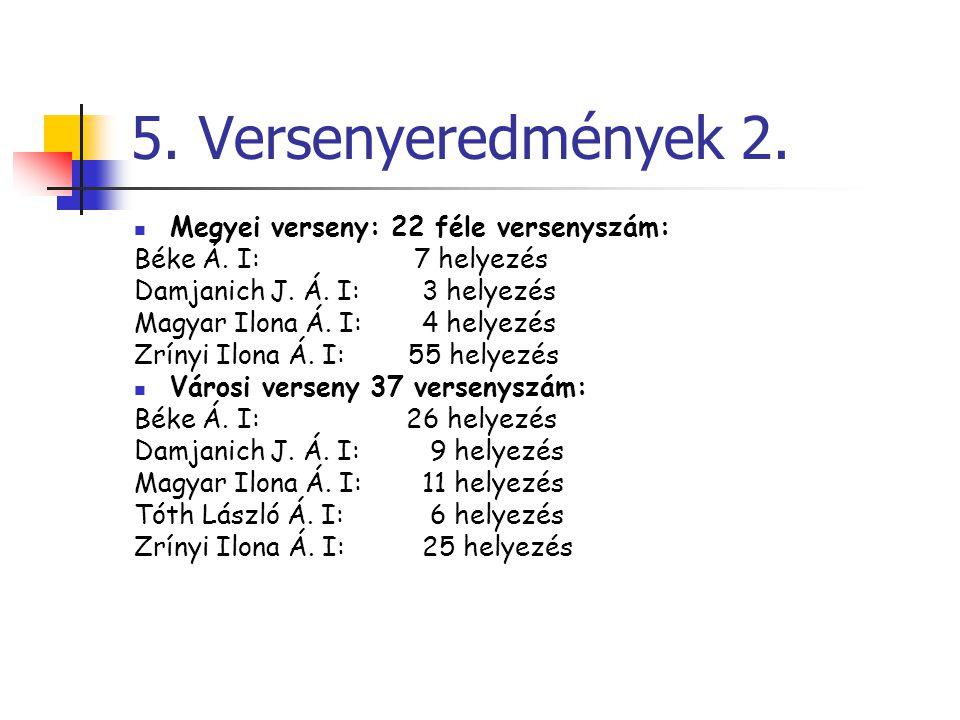 5. Versenyeredmények 2. Megyei verseny: 22 féle versenyszám: