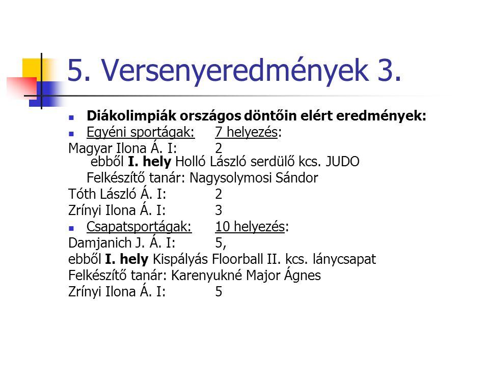 5. Versenyeredmények 3. Diákolimpiák országos döntőin elért eredmények: Egyéni sportágak: 7 helyezés: