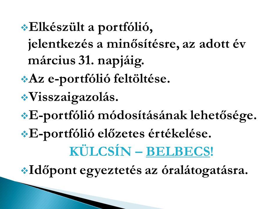 Elkészült a portfólió, jelentkezés a minősítésre, az adott év március 31. napjáig.