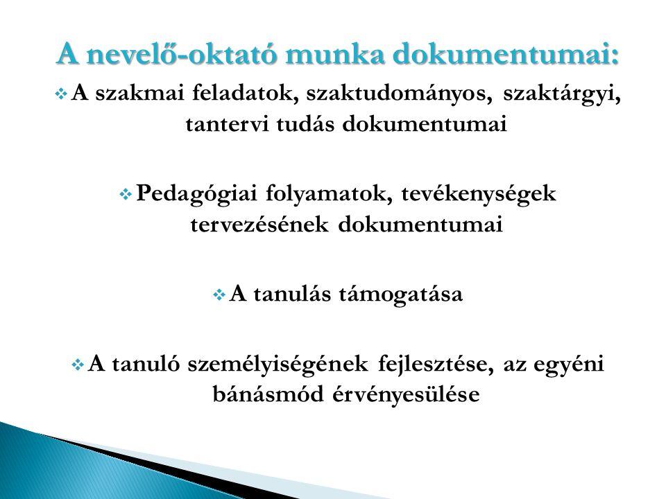 A nevelő-oktató munka dokumentumai: