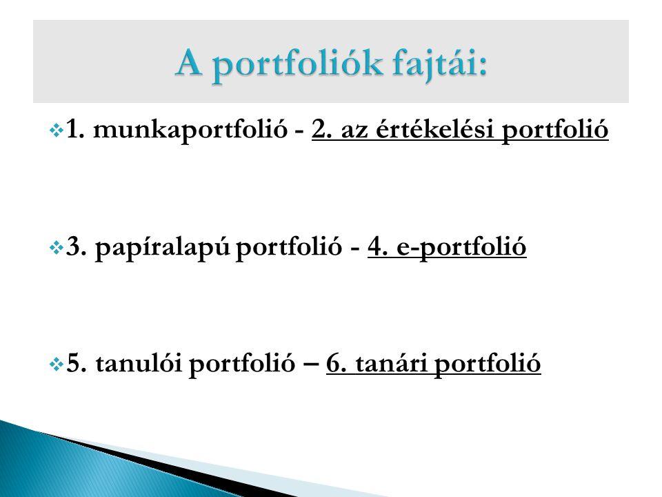 A portfoliók fajtái: 1. munkaportfolió - 2. az értékelési portfolió