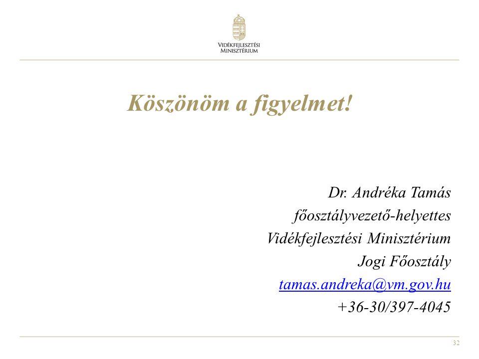 Köszönöm a figyelmet! Dr. Andréka Tamás főosztályvezető-helyettes
