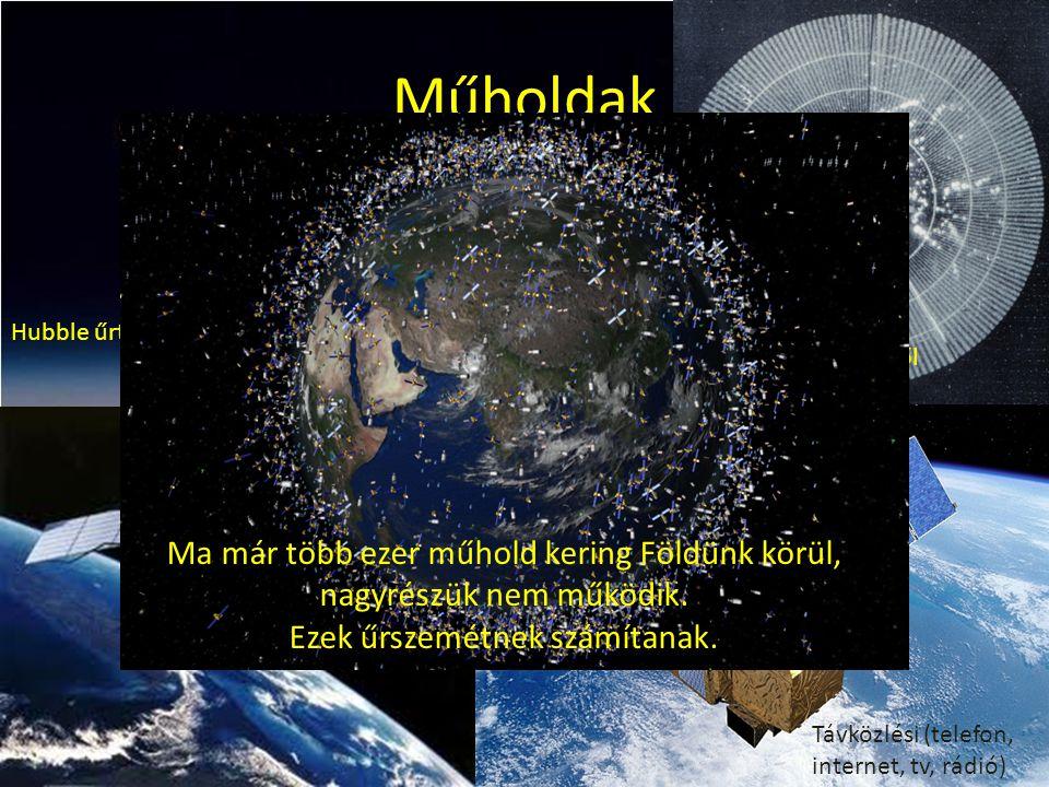 Műholdak Hubble űrtávcső. Időjárási kép az űrből. Katonai, távközlési, meteorológiai és sok más műhold kering a Föld körül.