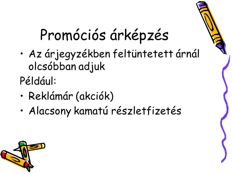 Promóciós árképzés Az árjegyzékben feltüntetett árnál olcsóbban adjuk