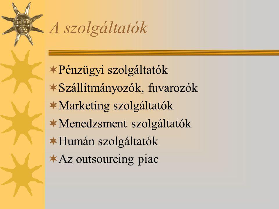 A szolgáltatók Pénzügyi szolgáltatók Szállítmányozók, fuvarozók