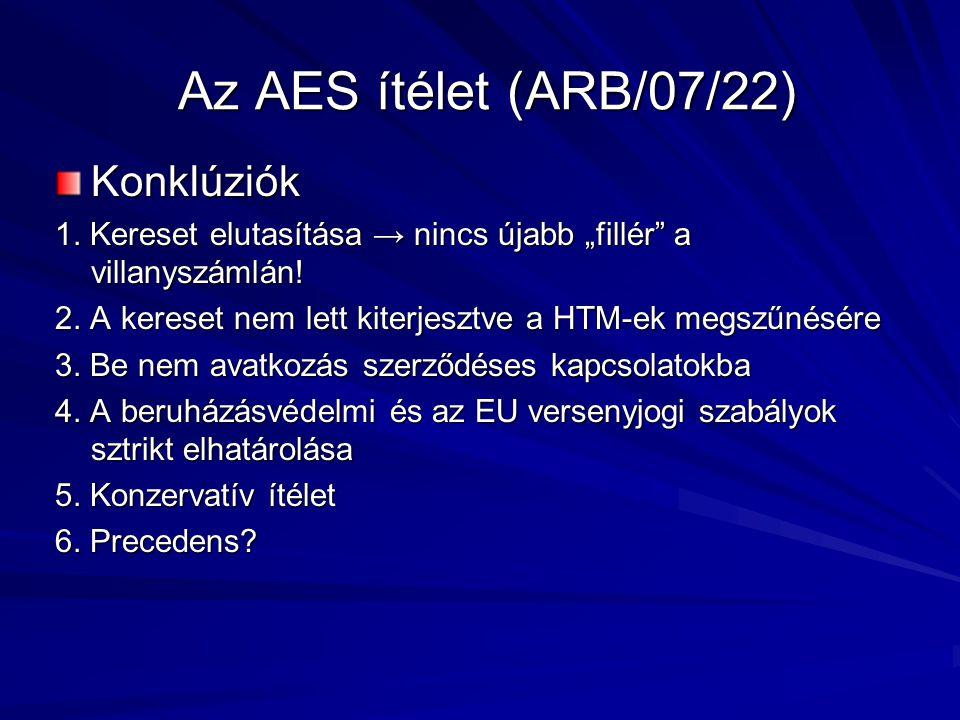 Az AES ítélet (ARB/07/22) Konklúziók