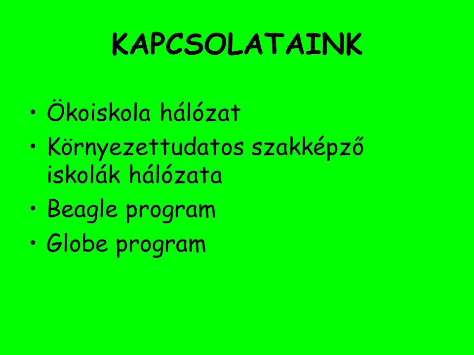 KAPCSOLATAINK Ökoiskola hálózat