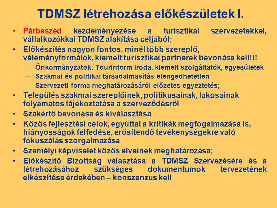 TDMSZ létrehozása előkészületek I.