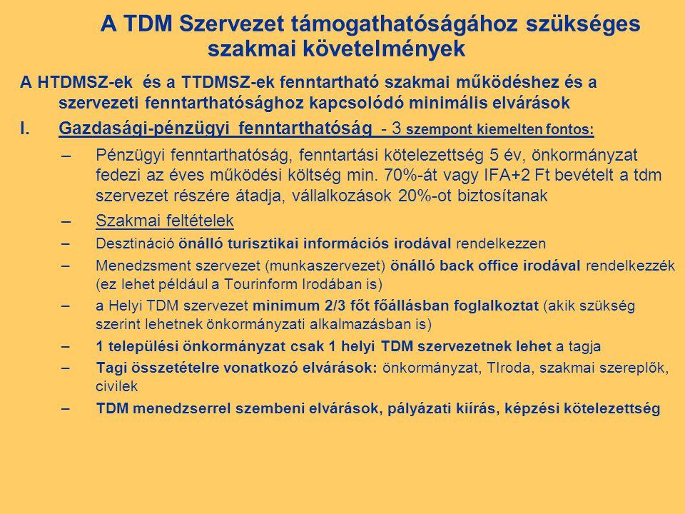 A TDM Szervezet támogathatóságához szükséges szakmai követelmények