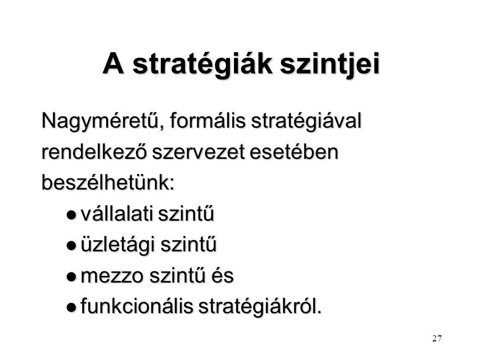 A stratégiák szintjei Nagyméretű, formális stratégiával